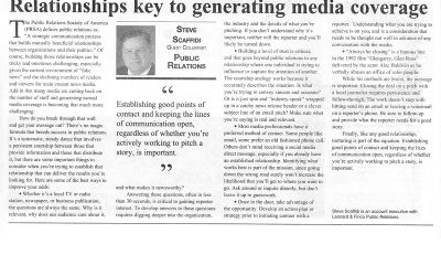 Relationships key to generating media coverage