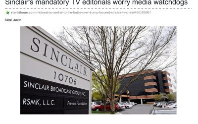 Sinclair's mandatory TV editorials worry media watchdogs